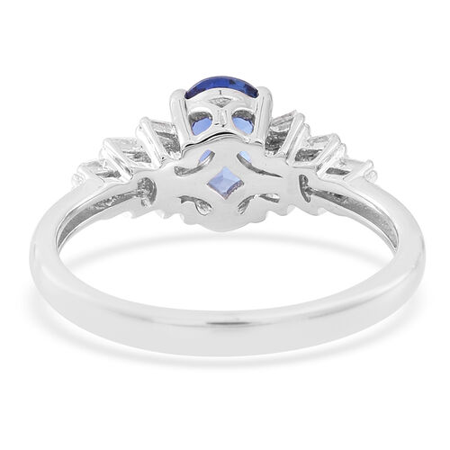 ILIANA 18K W Gold AAA Ceylon Blue Sapphire (Ovl), Diamond Ring 1.000 Ct.