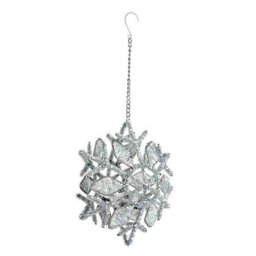 Home Decor - Silver Colour Sparkle Snowflake Decorative Hanging Light Holder (Size 20x15 Cm)
