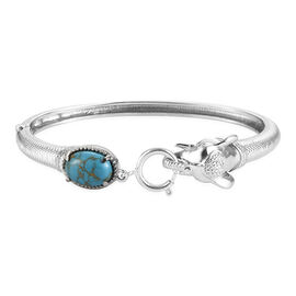 Blue Turquoise Bangle (Size 7.5) with Spring Ring Clasp in Stainless Steel 5.72 Ct.