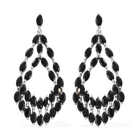 Designer Inspired- Boi Ploi Black Spinel (Mrq) Dangle Earrings (With Push Back) in Platinum Overlay