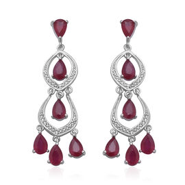 6.83 Ct African Ruby Dangle Earrings in Rhodium Plated Sterling Silver
