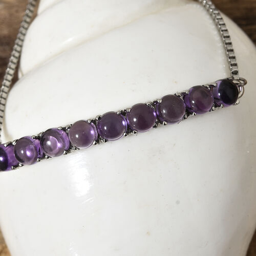 Amethyst (Rnd) Bracelet (Size 6.5 - 9.5 Adjustable) in Silver Plated  5.000 Ct.