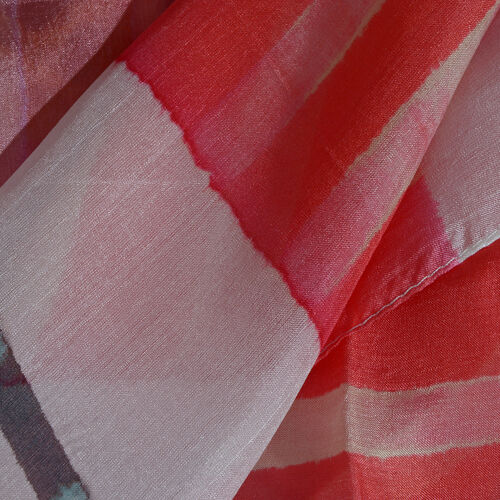 100% Mulberry Silk Red, Yellow and Multi Colour Stripe Pattern Pareo (Size 180x100 Cm)