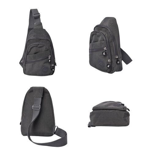 Grey Colour Backpack with Zipper Closure and Adjustable Shoulder Strap (Size 17.5x6x20cm)