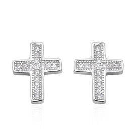 ELANZA Simulated Diamond (Rnd) Cross Earrings (with Push Back) in Rhodium Overlay Sterling Silver