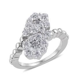 Made with Swarovski Zirconia Crossover Ring in Sterling Silver 4.6 Grams