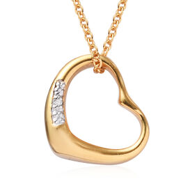 Diamond Heart Pendant with Chain (Size 18) in 14K Gold Overlay Sterling Silver
