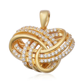 ELANZA AAA Simulated Diamond Knot Pendant in Yellow Gold Overlay Sterling Silver