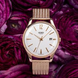 HENRY LONDON Richmond Ladies White Dial Mesh Bracelet Watch in Rose Gold Tone