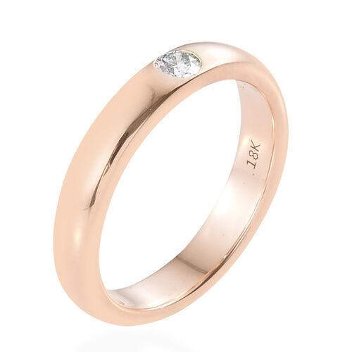 ILIANA 18K Rose Gold IGI Certified Diamond (F-G/VS) Band Ring 0.100 Ct.