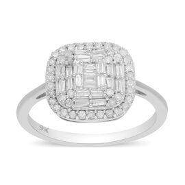 9K White Gold SGL Certified Diamond (I3/G-H) Ring 0.50 Ct.