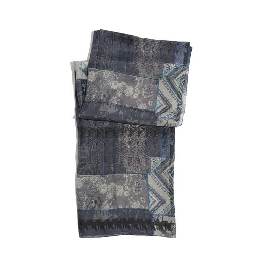 100% Mulberry Silk Black, Grey and Multi Colour Printed Scarf (Size 180x100 Cm)