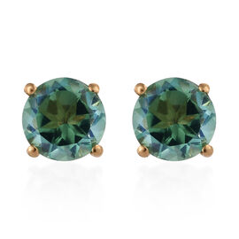 4 Carat Peacock Quartz Solitaire Stud Earrings in Gold Plated Sterling Silver