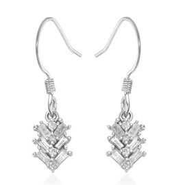 9K White Gold SGL Certified Diamond (I3/G-H) Hook Earrings 0.33 Ct.