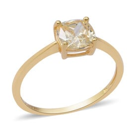 ELANZA Swiss Star Simulated Canary Diamond Stud Solitaire Ring in Yellow Gold Overlay Sterling Silve