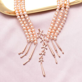 LucyQ Pearl Splash Collection- Peach Freshwater Edwardian Pearl Statement Necklace (Size 24) in Rose Gold Overlay Sterling Silver