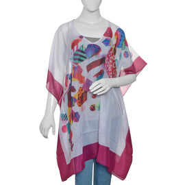 White, Fuchsia and Multi Colour Digital Printed Kaftan (Size 90x65 Cm)
