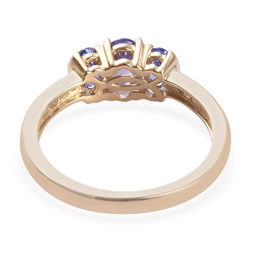 9K Yellow Gold AA Tanzanite and Natural Cambodian Zircon Ring 1.25 Ct.