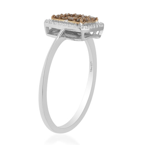 Champagne Diamond Ring in Platinum Overlay Sterling Silver 0.33 Ct.
