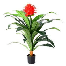 Home Decor - Artificial Dracaena Fragrans with Red Flower Plant with Pot (Size 15x13 Cm)