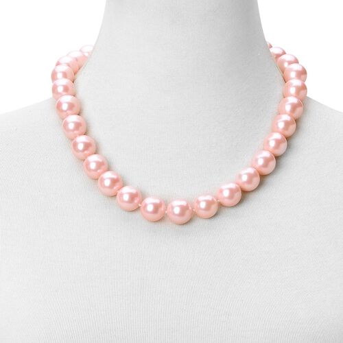 Rare Big Size Pink Shell Pearl (16 mm) Ball Beads Necklace (Size 20) with Magnetic Clasp in Rhodium Plated Sterling Silver