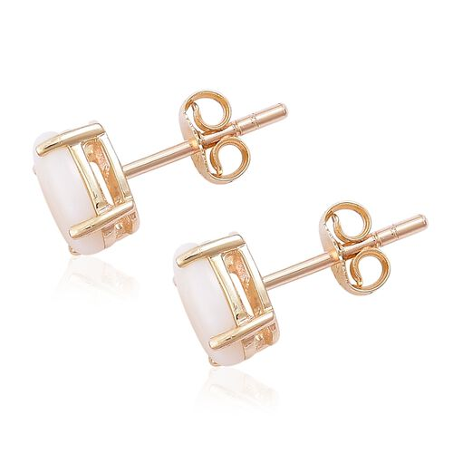 9K Yellow Gold 1.50 Ct. AA Australian White Opal (Ovl) Stud Earrings
