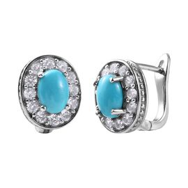 Arizona Sleeping Beauty Turquoise (Ovl), Natural Cambodian Zircon Stud Earrings (with Clasp) in Plat
