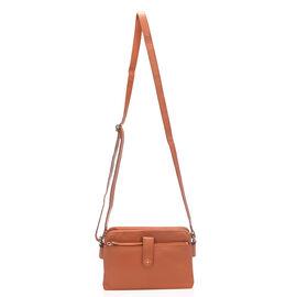 Super Soft 100% Genuine Leather Multi Compartment Orange Colour Handbag with Shoulder Strap (23x15.5