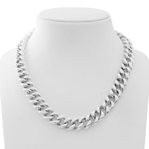 Limited Available-Vicenza Collection-Sterling Silver Curb Necklace (Size 20), Silver wt. 56.00 Gms.
