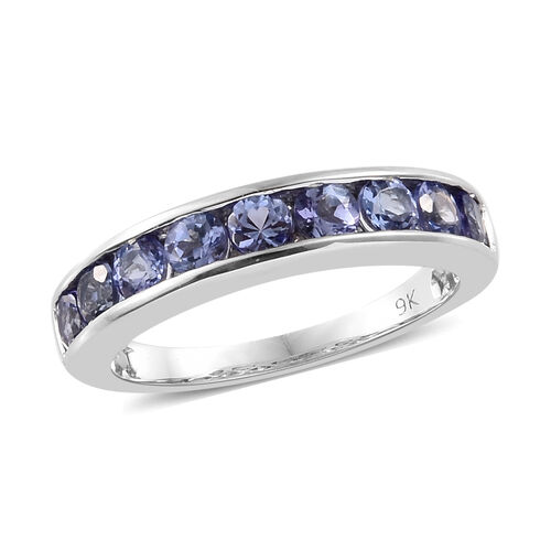 9K White Gold AA Tanzanite (Rnd) Half Band Ring 1.150 Ct.
