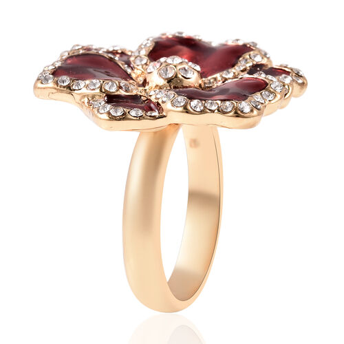 TJC Poppy Design - White Austrian Crystal Enamelled Ring in Gold Plated