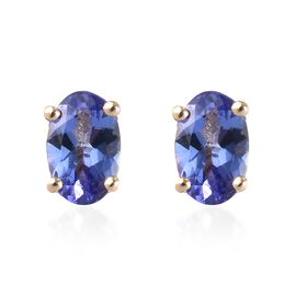 9K Yellow Gold AA Tanzanite (Ovl 6x4mm) Stud Earrings (with Push Back) 1.00 Ct.