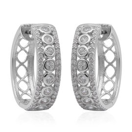 ELANZA AAA  Simulated Diamond Hoop earrings (with Clasp) in Rhodium Overlay Sterling Silver