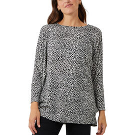 Nova Of London Animal Pattern Batwing Top (Size 8 to 18) - Ivory and Black