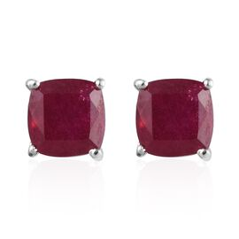 African Ruby (Cush) Stud Earrings (with Push Back) in Platinum Overlay Sterling Silver 3.250 Ct.