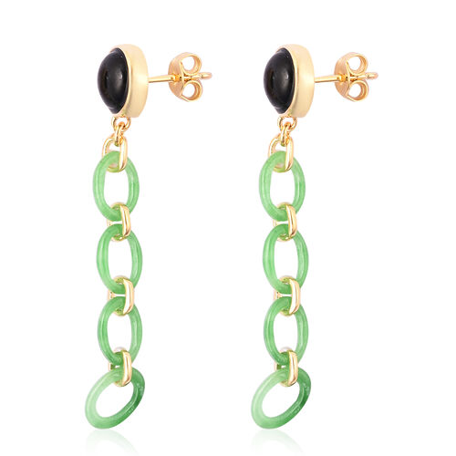 Black and Green Jade Dangle Earrings in Yellow Gold Over Sterling Silver 10.75 Ct.