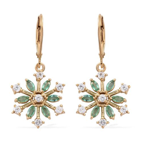 2 Carat Zambian Emerald Snowflake Silver Lever Back Earrings with Natural Cambodian Zircon in Gold Overlay