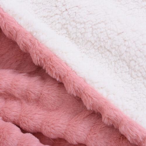 Embossed Wave Pattern Faux Fur Sherpa Blanket (150x200cm) - Pink Sapphire