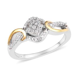 0.20 Ct Diamond Cluster Ring in Platinum and Yellow Gold Plated Silver