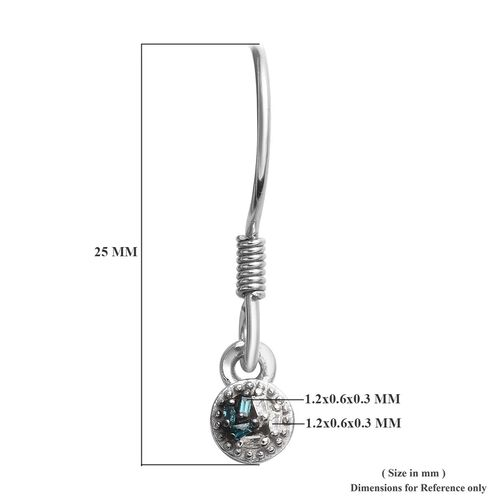 Blue and White Diamond (Bgt) Hook Earrings in Platinum Overlay Sterling Silver 0.040 Ct.