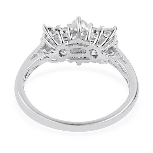 ILIANA 18K W Gold IGI Certified Diamond (Bgt) (SI/G-H) Boat Cluster Ring 1.000 Ct.