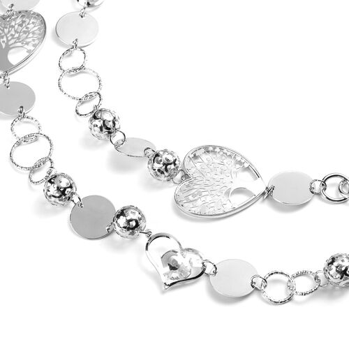Simulated Diamond Necklace (Size 42 with 2 inch Extender) in Silver Tone
