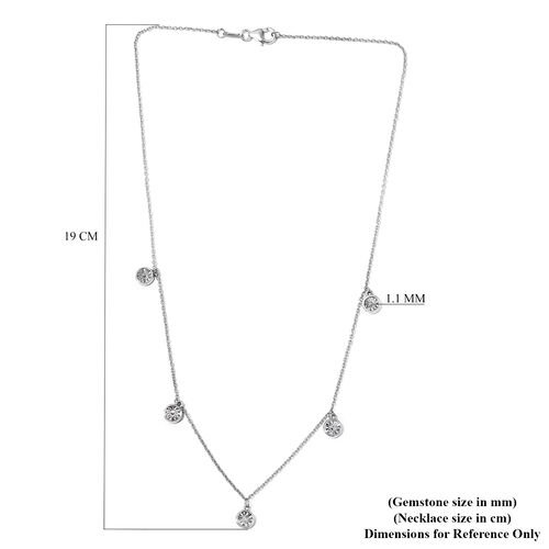 Diamond Station Necklace (Size 18) in Platinum Overlay Sterling Silver