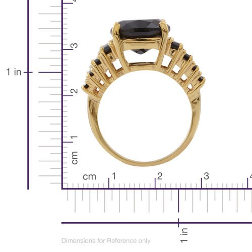 Boi Ploi Black Spinel (Cush 9.20 Ct) Ring in 14K Gold Overlay Sterling Silver 11.000 Ct. Silver wt 5.00 Gms.