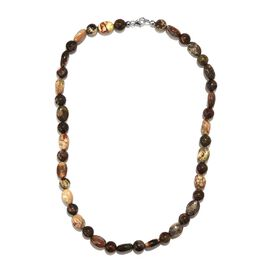 Picture Jasper Necklace (Size 20) (with Lobster Clasp) in Rhodium Overlay Sterling Silver 235.80 Ct.