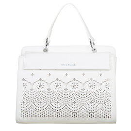 Bulaggi Collection Gail Handbag with Adjustable and Deatchable Shoulder Strap in White