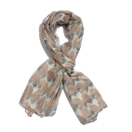 100% Mulberry Silk Tawny Brown Colour Dog Printed Scarf (Size 180x100 Cm)