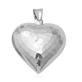 Sterling Silver Diamond Cut Heart Pendant, Silver wt 8.61 Gms