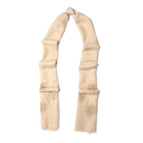 New Zealand Super Fine Merino Wool and Silk Beige Colour Scarf Hand Stitched Sequin Work (Size 200x70 Cm)