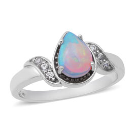 Ethiopian Welo Opal and Natural Cambodian Zircon Ring in Rhodium Overlay Sterling Silver